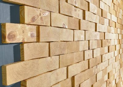 Wall covering of solid wood face blocks (NORTO Skov 135)