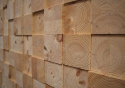 Untreated wall decoration of face blocks of solid pine wood