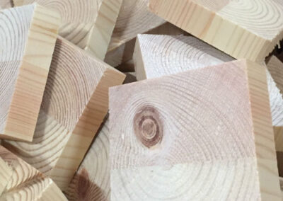 Raw face blocks of solid pine wood