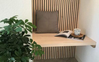 Fire-resistant wooden slats in the hallway
